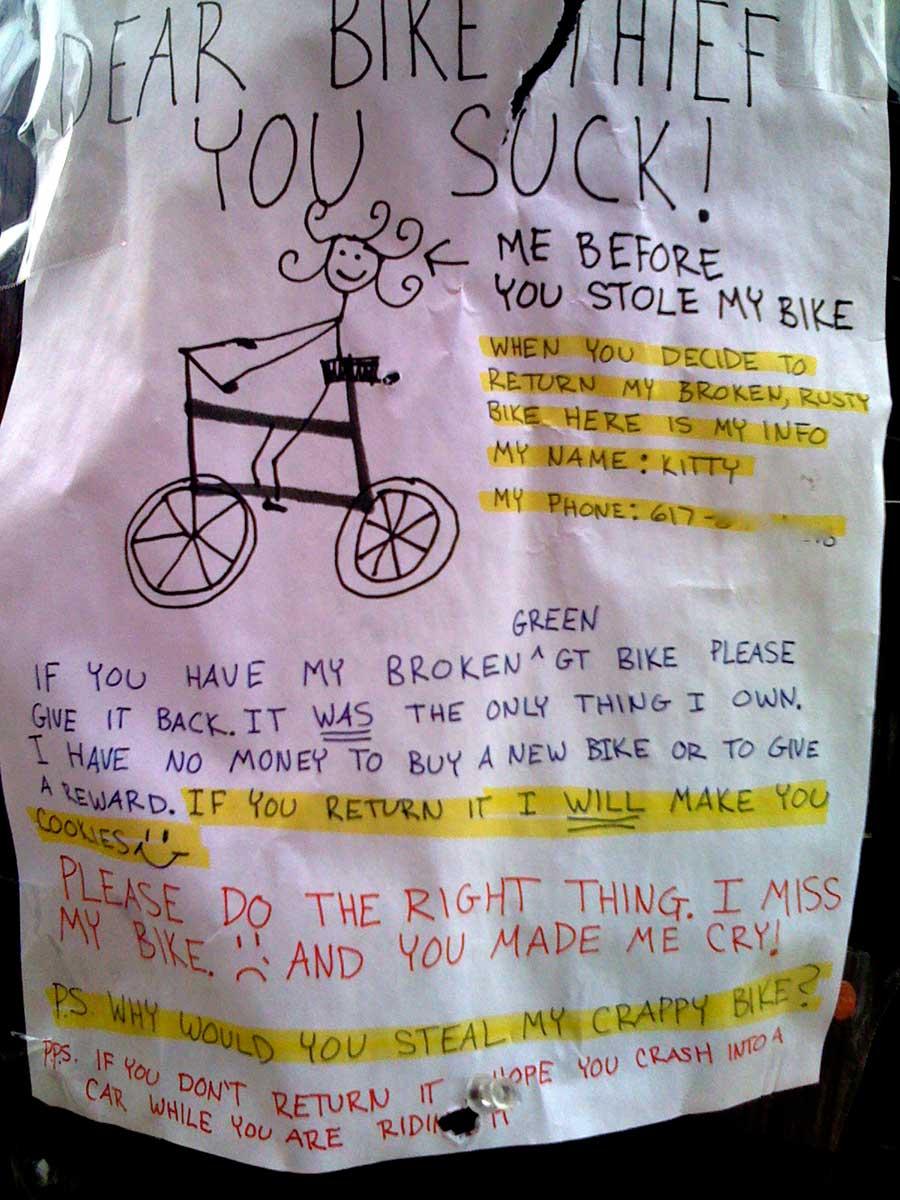 Fahrrad geklaut. Dieb sck!